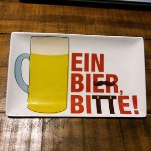 "CRATE & BARREL Ein Bier Bitte 8x5"" Appetizer Dish"